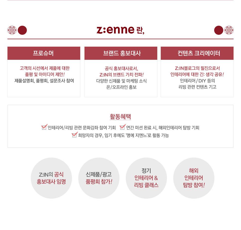 Z:enne 란, 프로슈머-고객의 시선에서 제품에 대한 품평 및 아이디어 제안! 제품설명회, 품평회, 설문조사 참여, 브랜드 홍보대사-공식 홍보대사로서, Z:IN의 브랜드 가치 전파! 다양한 신제품 및 마케팅 소식 온/오프라인 홍보, 컨텐츠 크리에이터-Z:IN블로그의 필진으로서 인테리어에 대한 긴: 생각 공유! 인테리어/DIY 등의 리빙 관련 컨텐츠 기고, 활동혜택-인테리어/리빙 관련 문화강좌 참여 기회, 연간 미션 완료 시, 해외인테리어 탐방 기회,희망자의 경우, 임기 후에도 '명예 지엔느'로 활동 가능. Z:IN의 공식 홍보대사 임명, 신제품/광고 품평회 참가! 정기 인테리어 & 리빙 클래스, 해외 인테리어탐방 참여!
