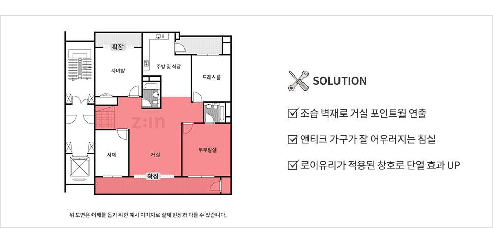 SOLUTION - 조습 벽재로 거실 포인트월 연출, 앤티크 가구가 잘 어우러지는 침실, 로이유리가 적용된 창호로 단열 효과 UP